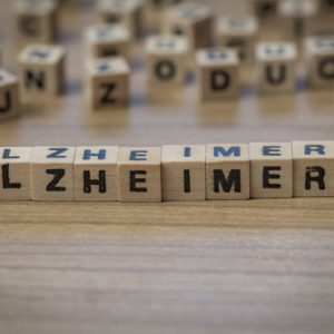 Alzheimers spelled out on wooden blocks