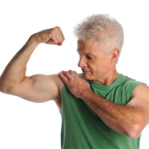 senior man flexing